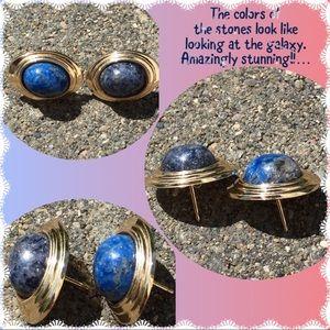 Jewelry - 14K Gold Oval Lapis Cabochon Stud Earrings